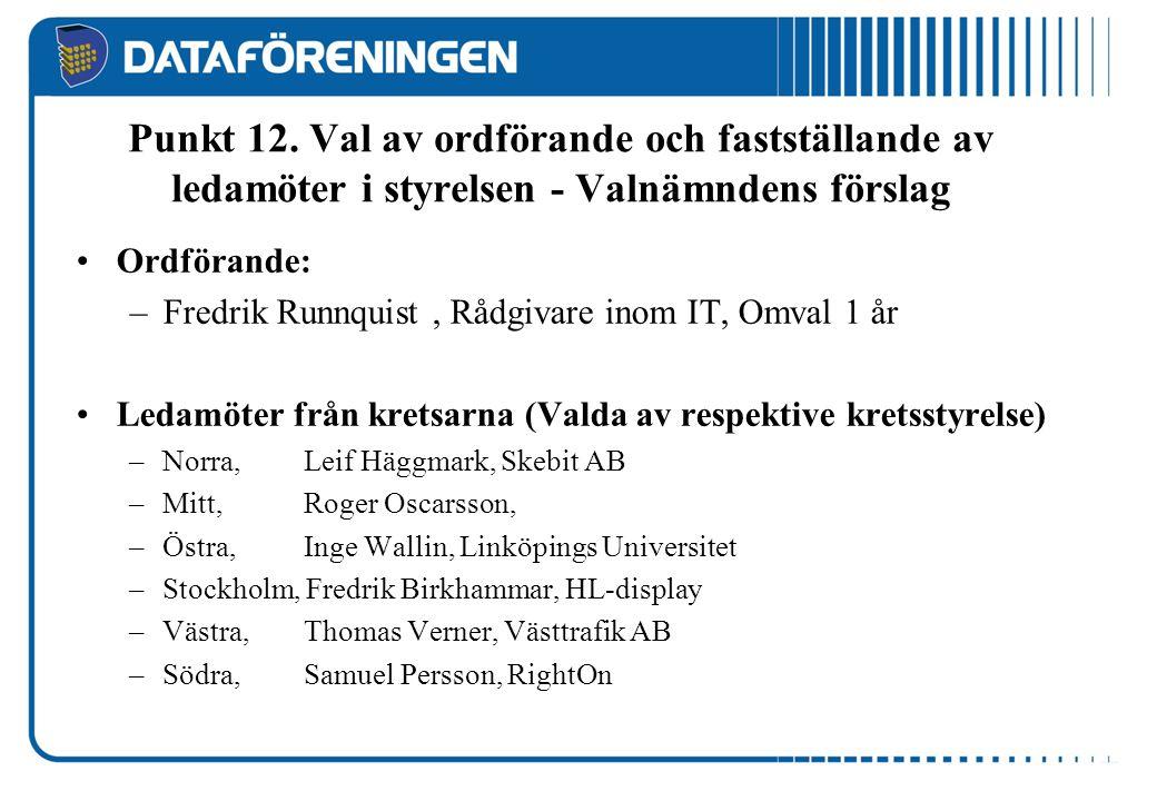Punkt 12. Val av ordförande och fastställande av ledamöter i styrelsen - Valnämndens förslag