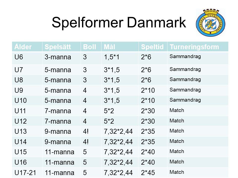 Spelformer Danmark Ålder Spelsätt Boll Mål Speltid Turneringsform U6