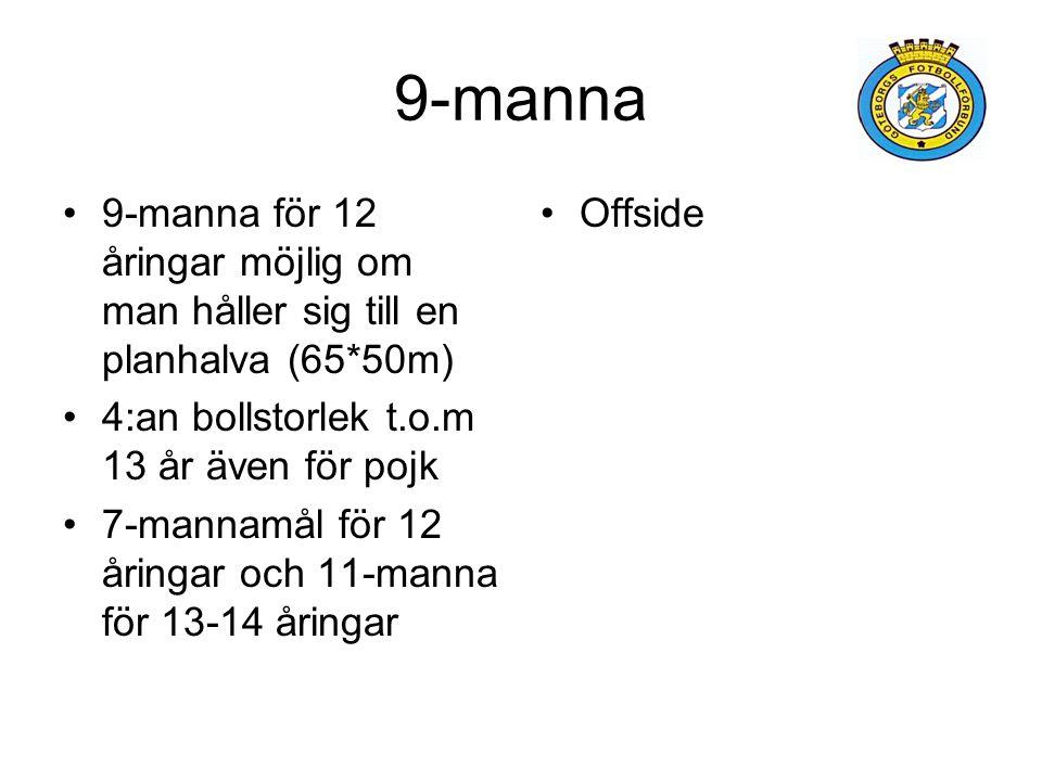 9-manna 9-manna för 12 åringar möjlig om man håller sig till en planhalva (65*50m) 4:an bollstorlek t.o.m 13 år även för pojk.