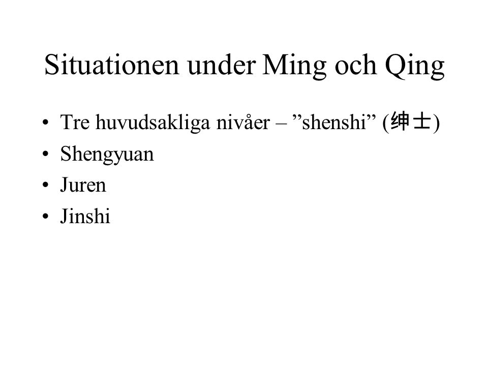 Situationen under Ming och Qing