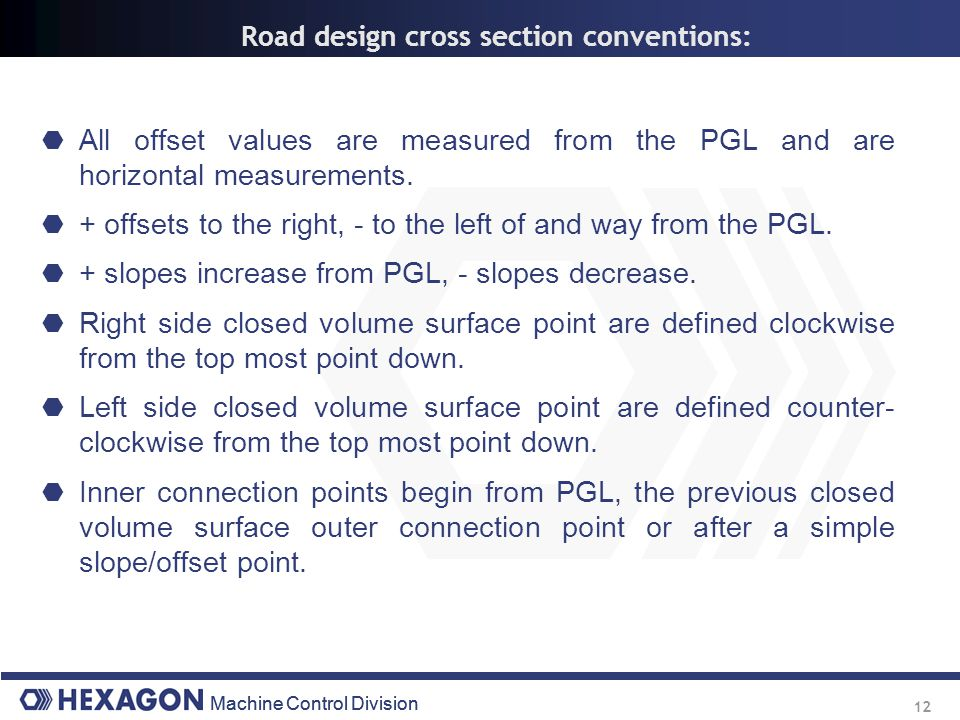Road design cross section conventions: