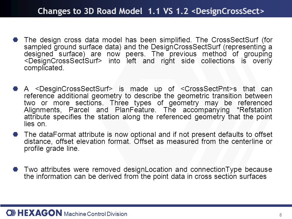 Changes to 3D Road Model 1.1 VS 1.2 <DesignCrossSect>