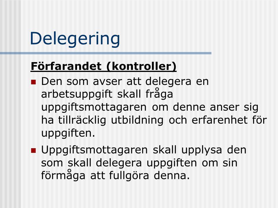 Delegering Förfarandet (kontroller)