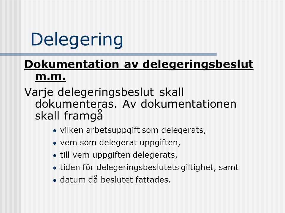 Delegering Dokumentation av delegeringsbeslut m.m.
