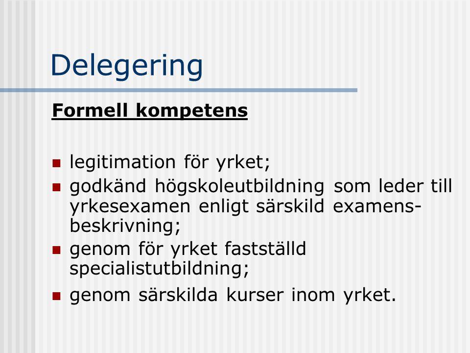 Delegering Formell kompetens legitimation för yrket;
