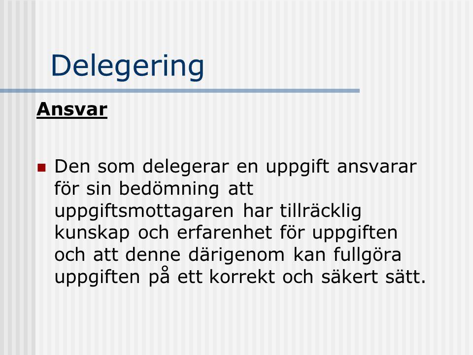 Delegering Ansvar.