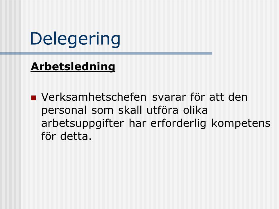 Delegering Arbetsledning