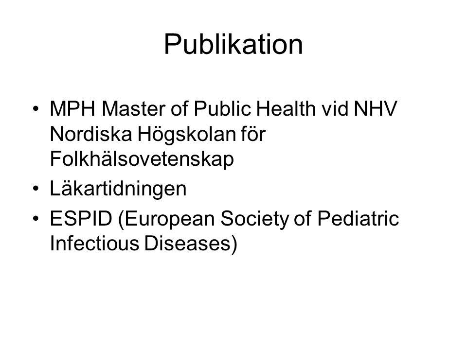 Publikation MPH Master of Public Health vid NHV Nordiska Högskolan för Folkhälsovetenskap. Läkartidningen.