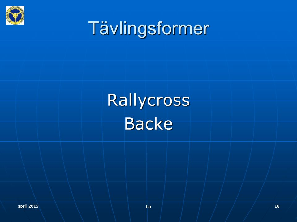 Tävlingsformer Rallycross Backe april 2017 ha