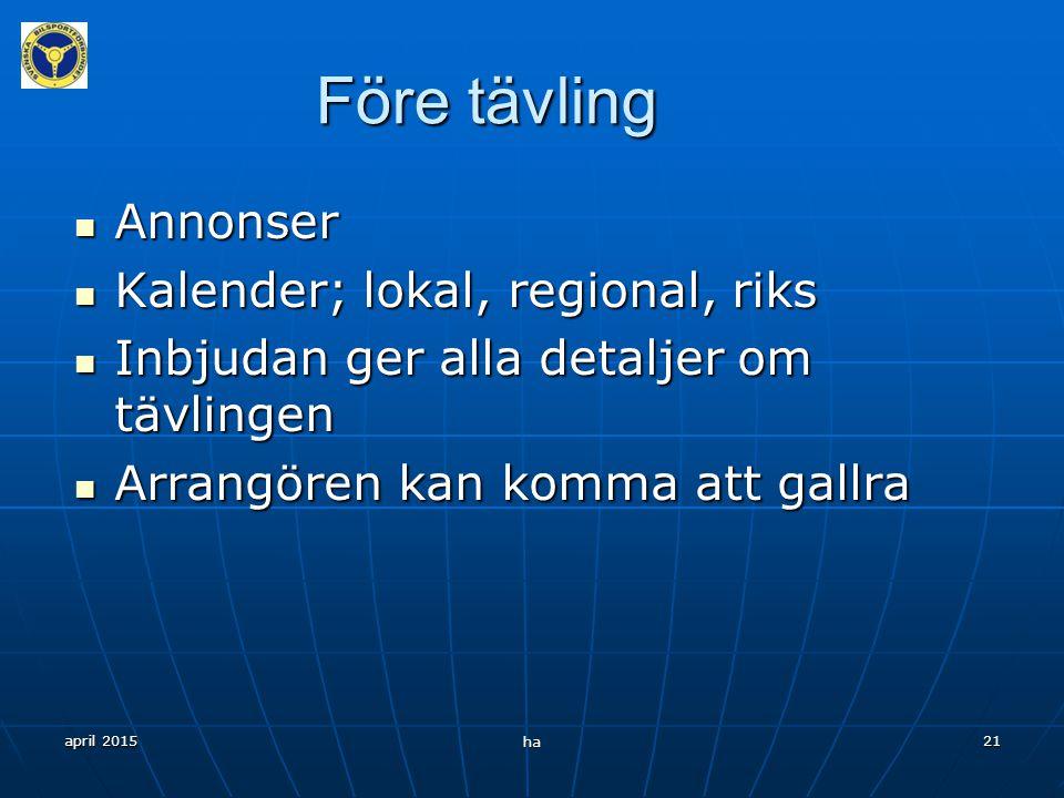 Före tävling Annonser Kalender; lokal, regional, riks