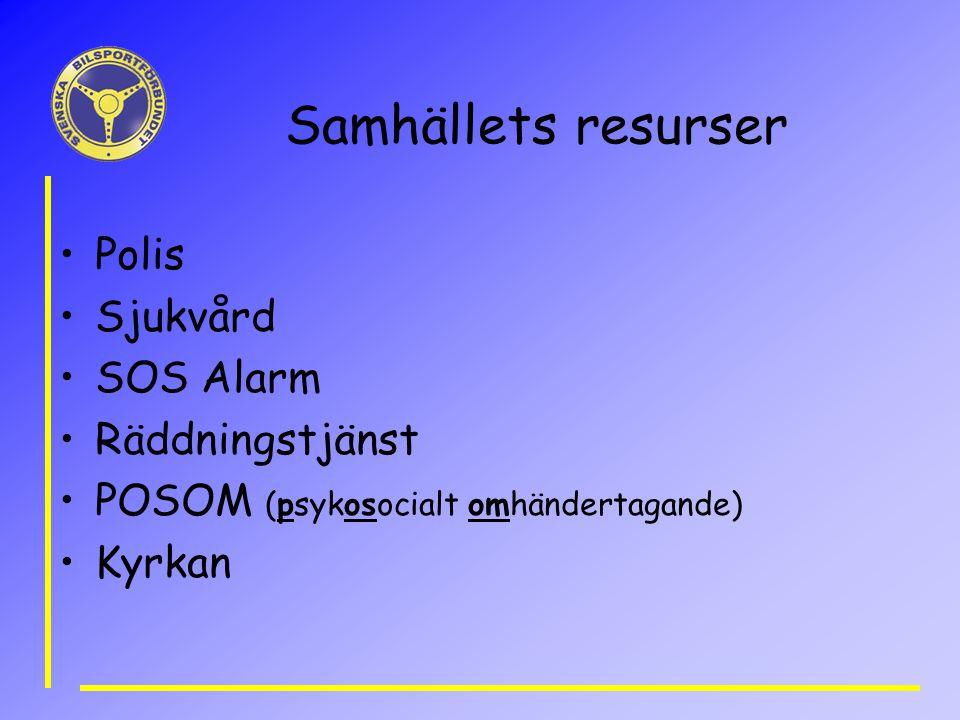 Samhällets resurser Polis Sjukvård SOS Alarm Räddningstjänst