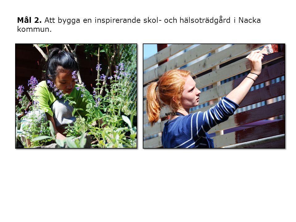 Mål 2. Att bygga en inspirerande skol- och hälsoträdgård i Nacka kommun.