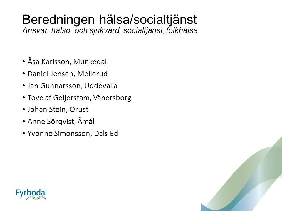 Beredningen hälsa/socialtjänst Ansvar: hälso- och sjukvård, socialtjänst, folkhälsa