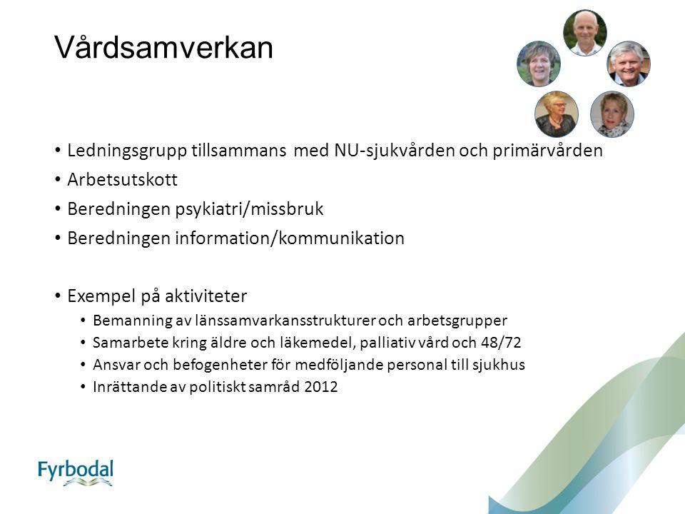 Vårdsamverkan Ledningsgrupp tillsammans med NU-sjukvården och primärvården. Arbetsutskott. Beredningen psykiatri/missbruk.