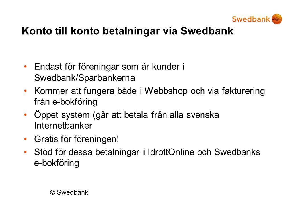Konto till konto betalningar via Swedbank