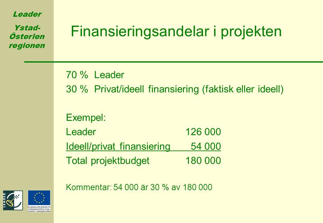 Finansieringsandelar i projekten