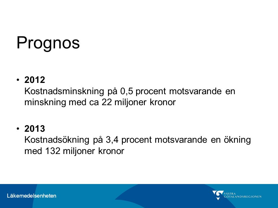 Prognos 2012 Kostnadsminskning på 0,5 procent motsvarande en minskning med ca 22 miljoner kronor.