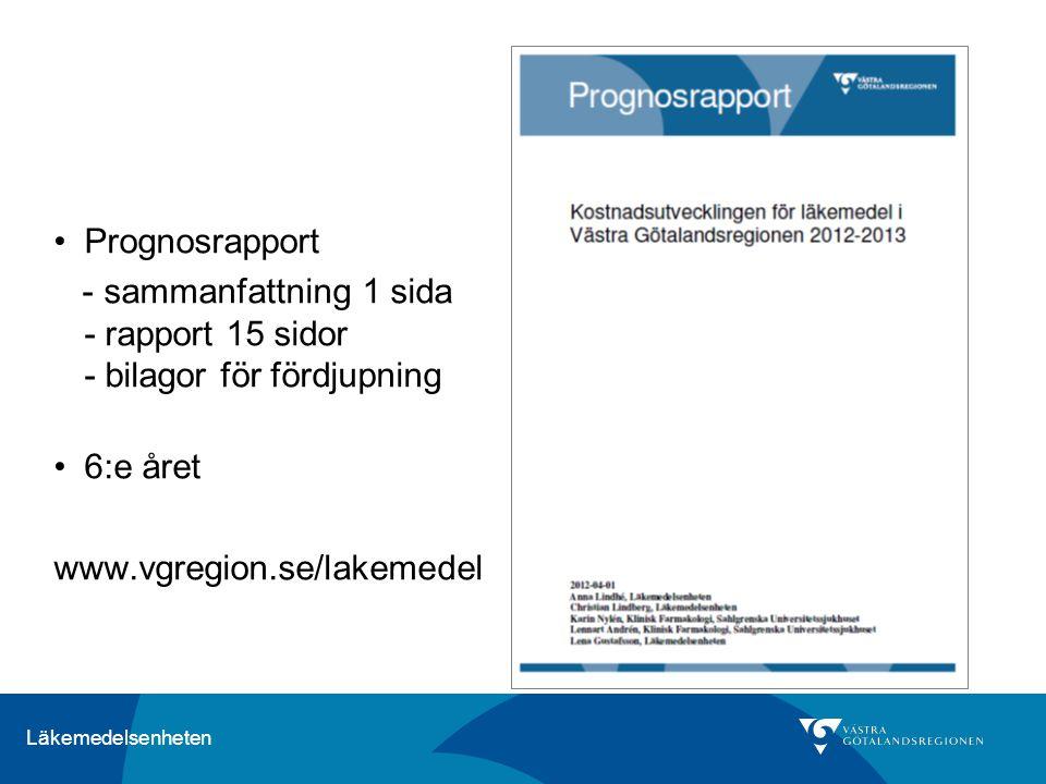 Prognosrapport - sammanfattning 1 sida - rapport 15 sidor - bilagor för fördjupning.