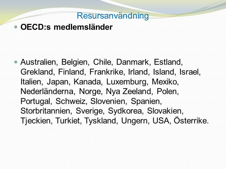 Resursanvändning OECD:s medlemsländer