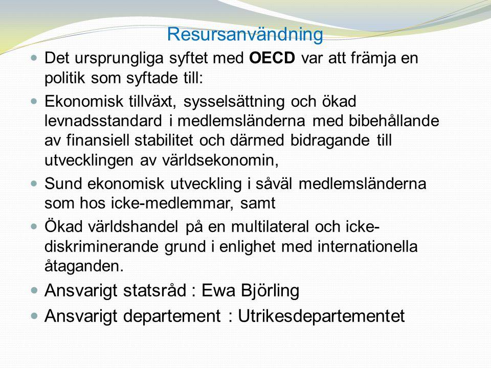 Resursanvändning Ansvarigt statsråd : Ewa Björling