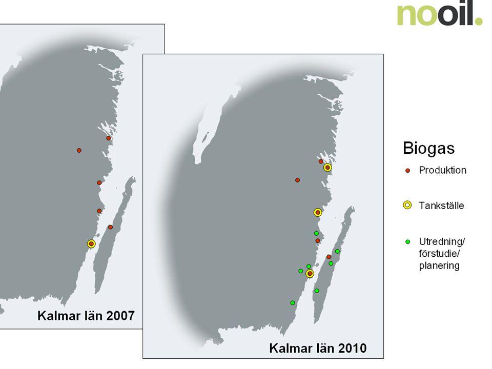 Biogas Kalmar län 2007 Kalmar län 2010 Produktion Tankställe
