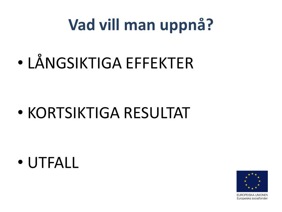 LÅNGSIKTIGA EFFEKTER KORTSIKTIGA RESULTAT UTFALL
