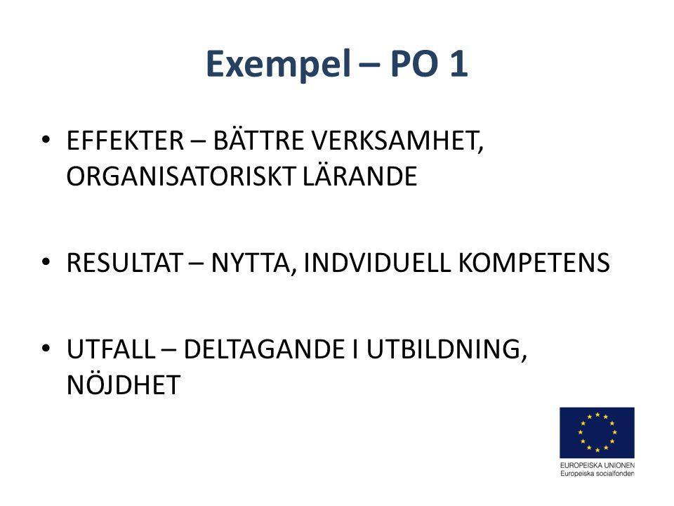 Exempel – PO 1 EFFEKTER – BÄTTRE VERKSAMHET, ORGANISATORISKT LÄRANDE