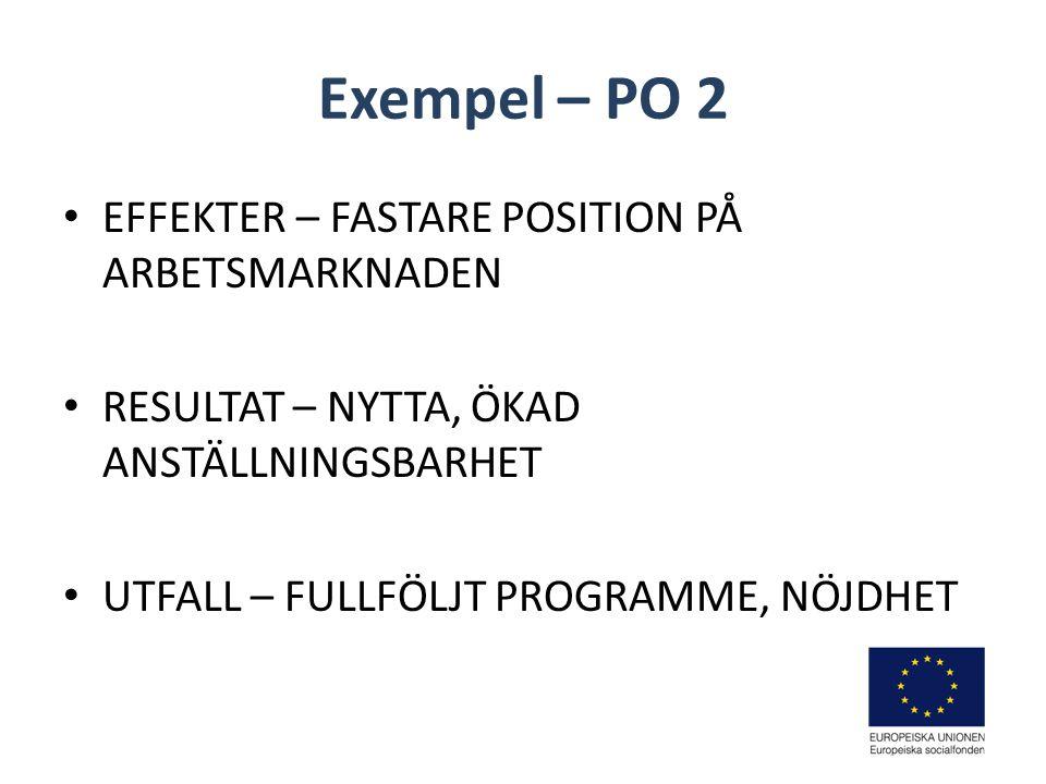 Exempel – PO 2 EFFEKTER – FASTARE POSITION PÅ ARBETSMARKNADEN