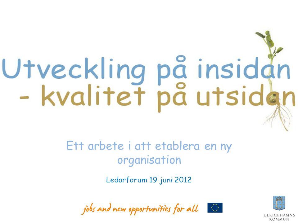 Ett arbete i att etablera en ny organisation Ledarforum 19 juni 2012