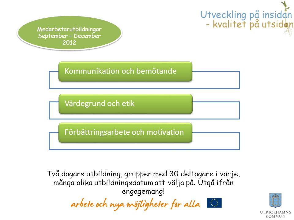 Medarbetarutbildningar September – December 2012