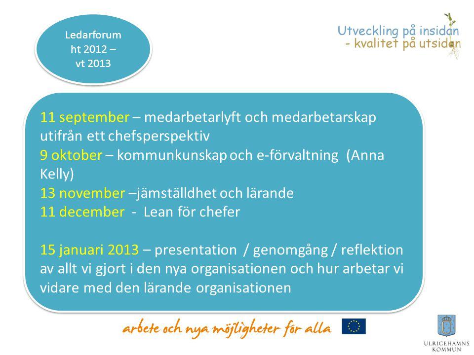 9 oktober – kommunkunskap och e-förvaltning (Anna Kelly)