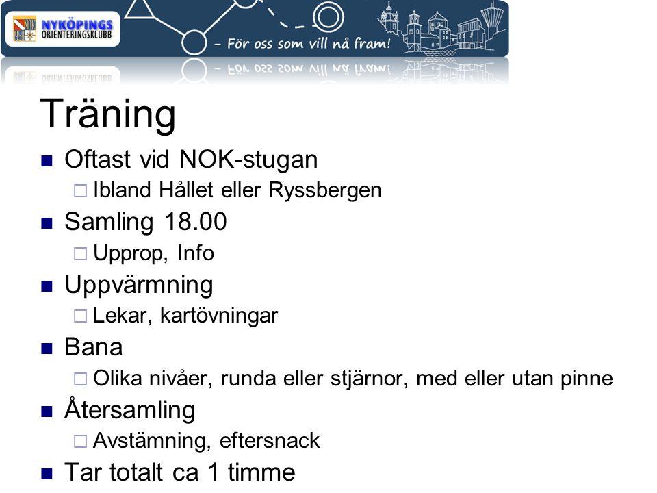 Träning Oftast vid NOK-stugan Samling 18.00 Uppvärmning Bana