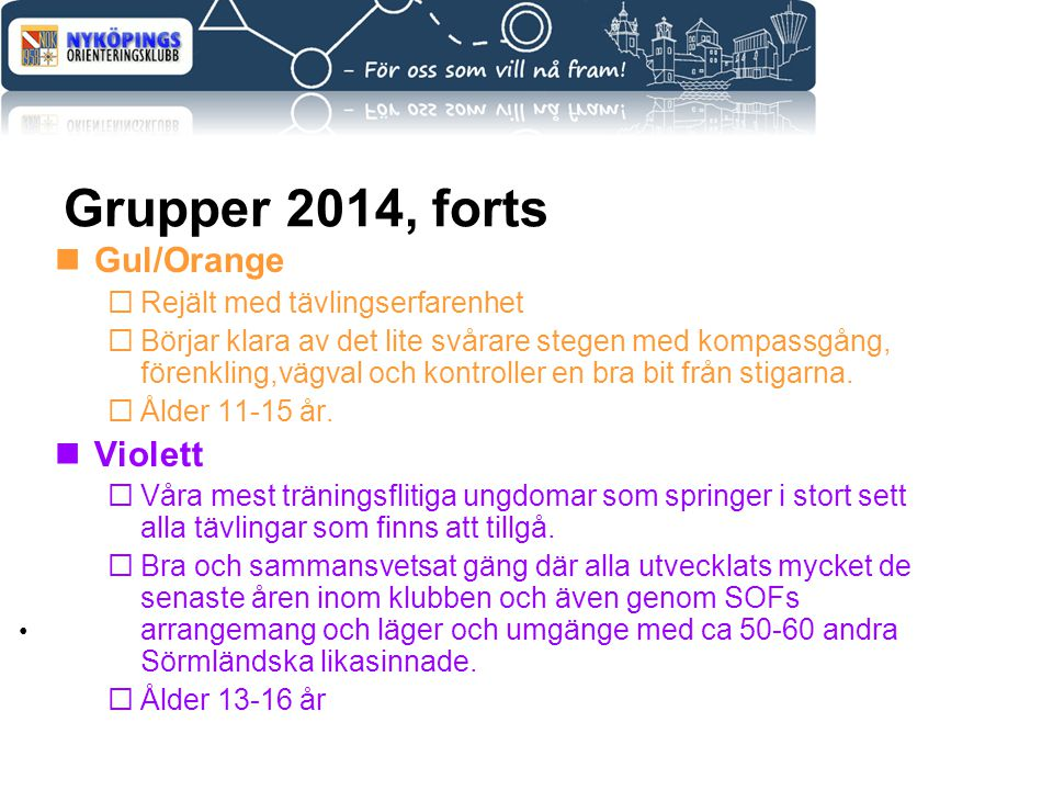 Grupper 2014, forts Gul/Orange Violett Rejält med tävlingserfarenhet