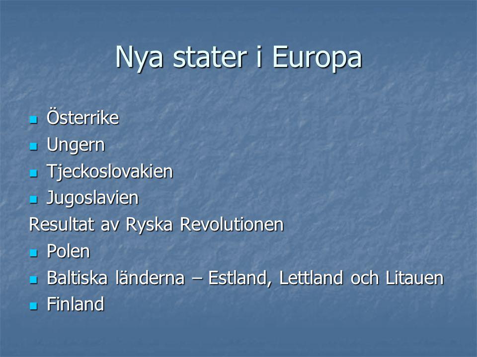 Nya stater i Europa Österrike Ungern Tjeckoslovakien Jugoslavien