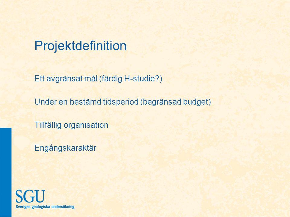 Projektdefinition Ett avgränsat mål (färdig H-studie )
