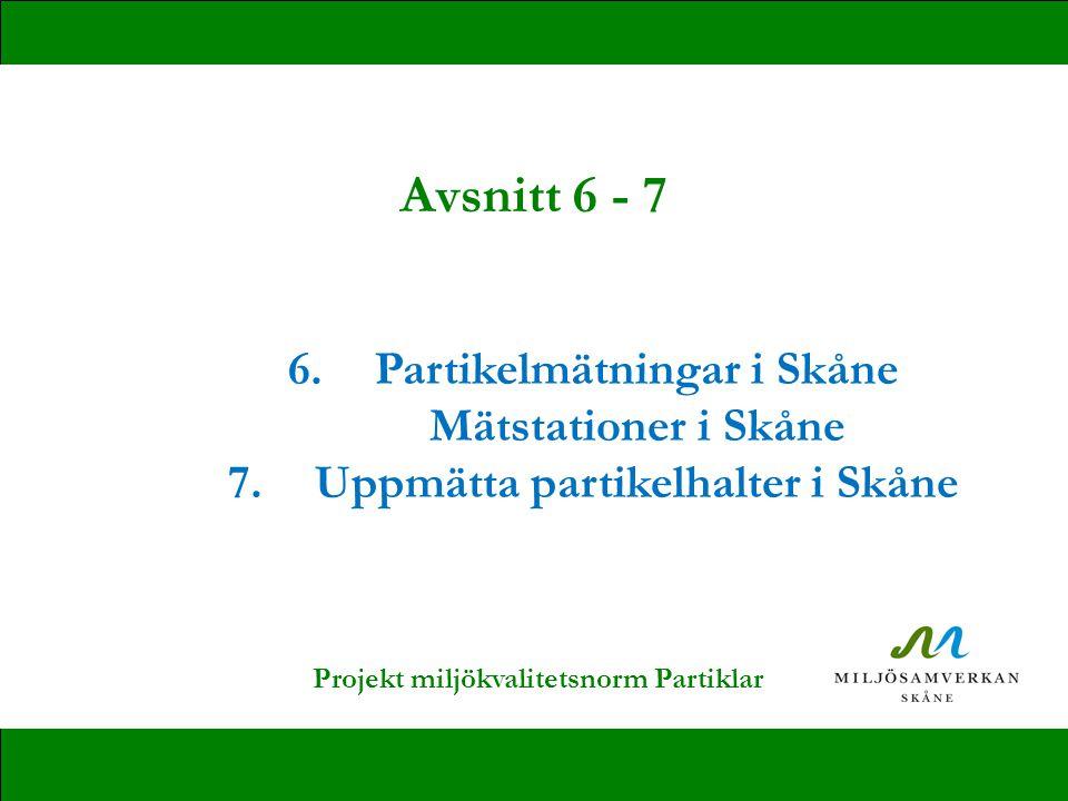 Avsnitt 6 - 7 Partikelmätningar i Skåne Mätstationer i Skåne