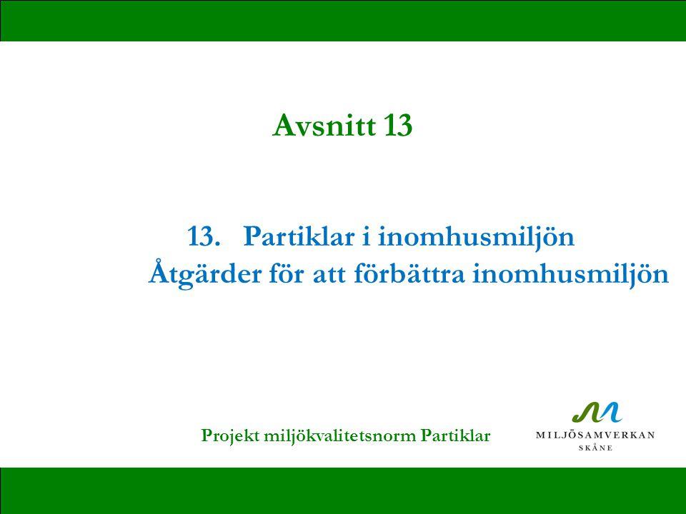 Avsnitt 13 13. Partiklar i inomhusmiljön