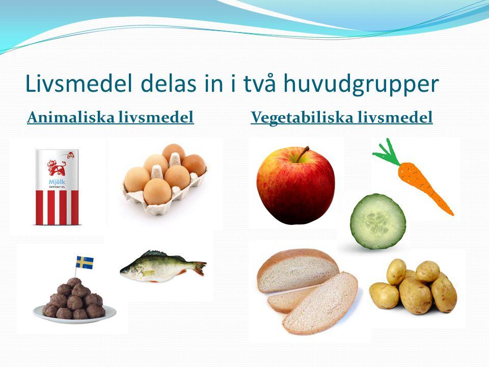 Livsmedel delas in i två huvudgrupper