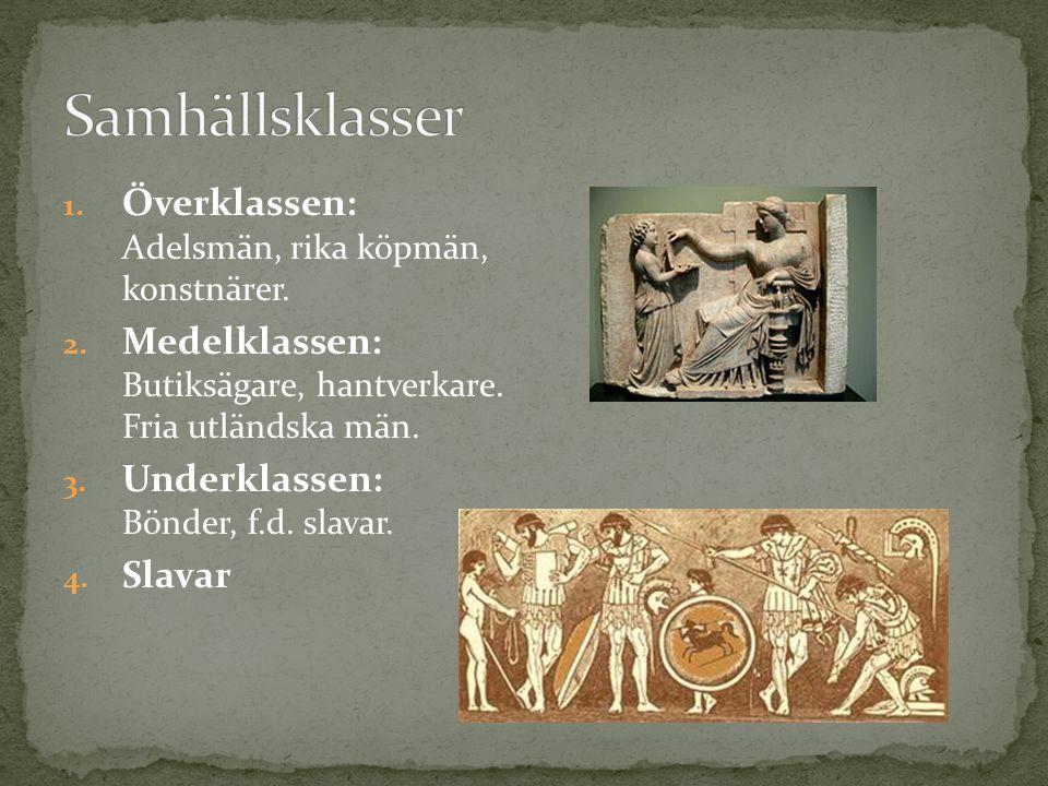 Samhällsklasser Överklassen: Adelsmän, rika köpmän, konstnärer.