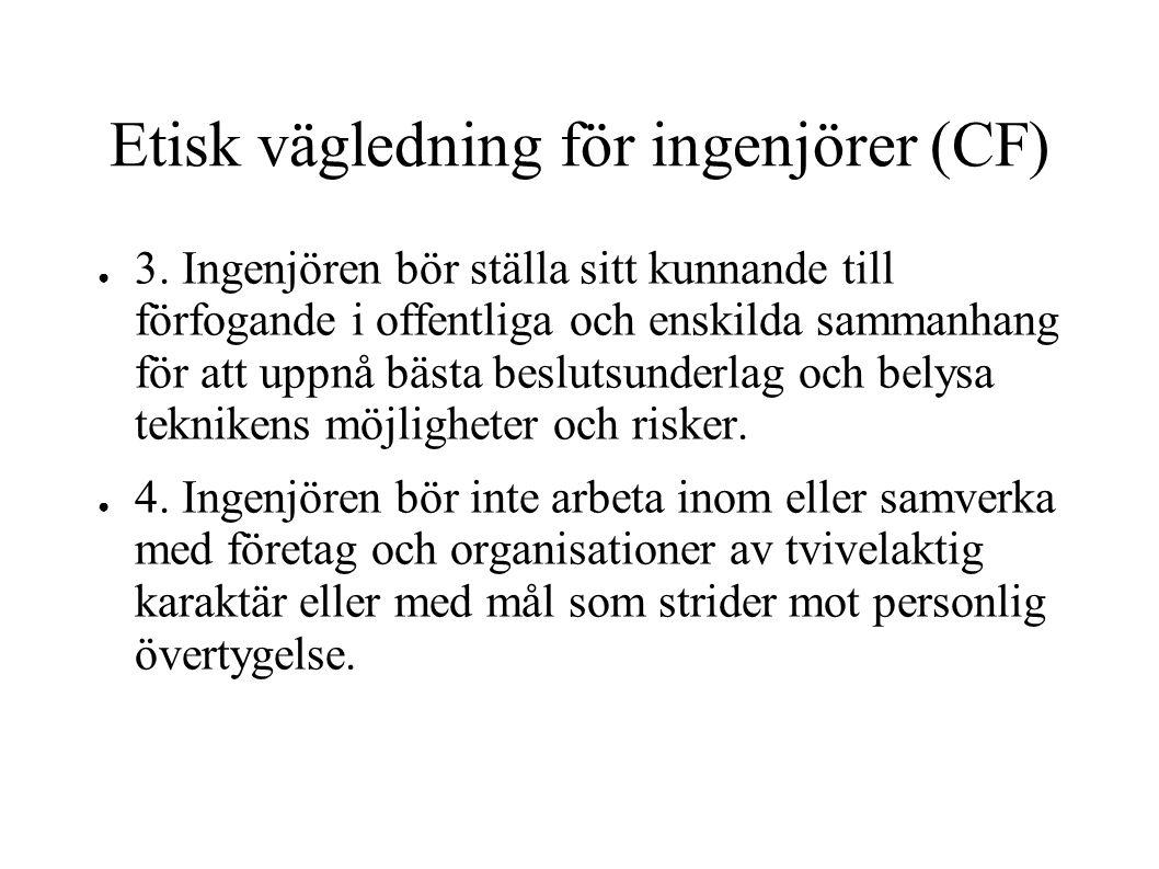 Etisk vägledning för ingenjörer (CF)