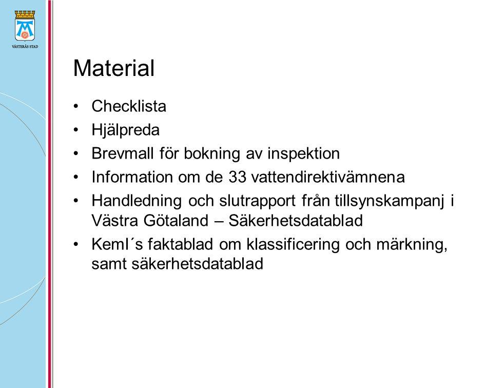Material Checklista Hjälpreda Brevmall för bokning av inspektion