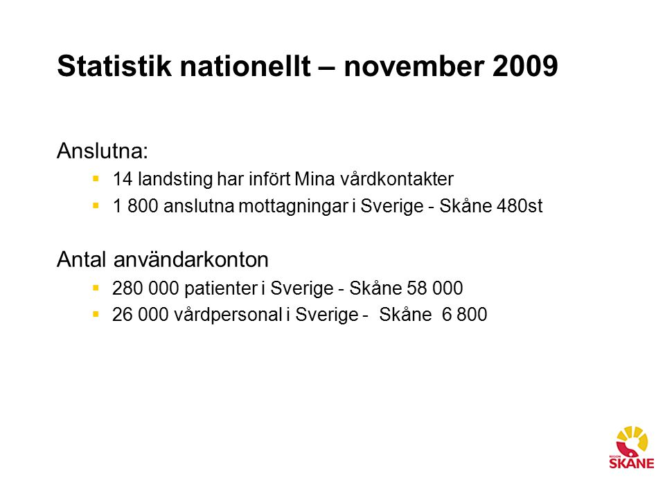 Statistik nationellt – november 2009