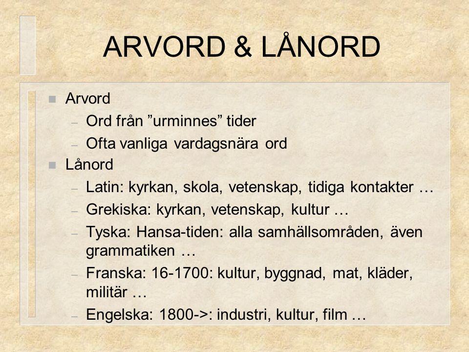 ARVORD & LÅNORD Arvord Ord från urminnes tider