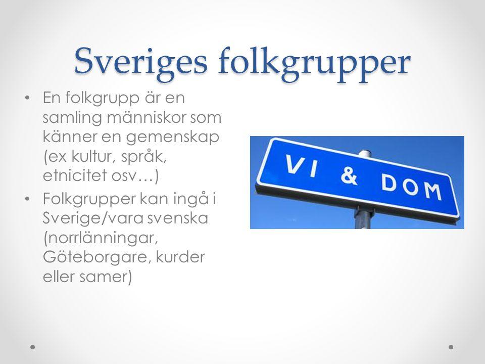 Sveriges folkgrupper En folkgrupp är en samling människor som känner en gemenskap (ex kultur, språk, etnicitet osv…)