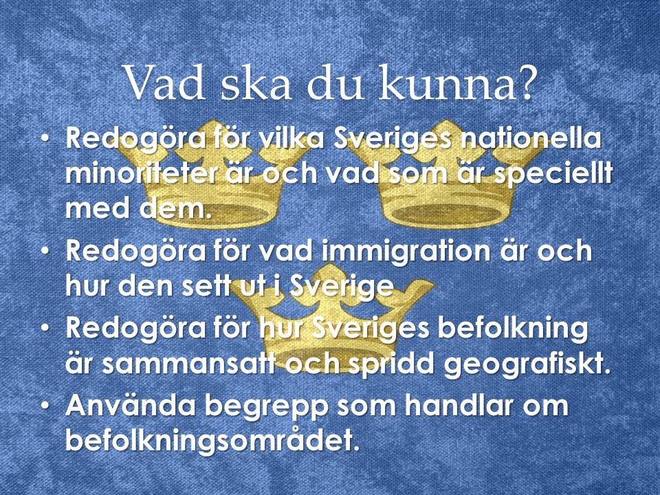 Vad ska du kunna Redogöra för vilka Sveriges nationella minoriteter är och vad som är speciellt med dem.