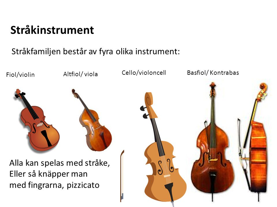 Stråkinstrument Stråkfamiljen består av fyra olika instrument: