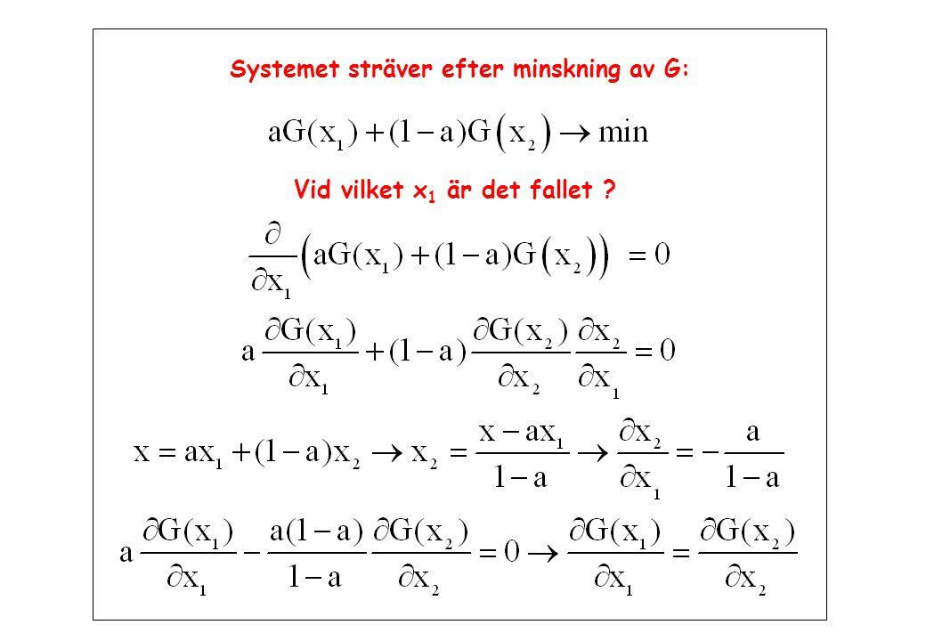 Systemet sträver efter minskning av G: