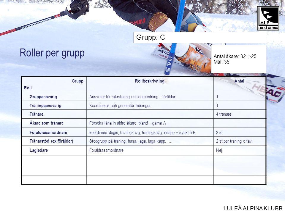 Roller per grupp Grupp: C Antal åkare: 32 ->25 Mål: 35 Grupp Roll
