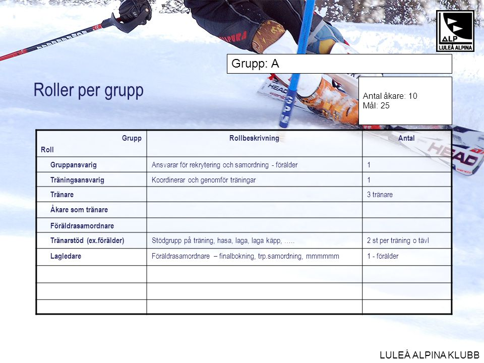 Roller per grupp Grupp: A Antal åkare: 10 Mål: 25 Grupp Roll