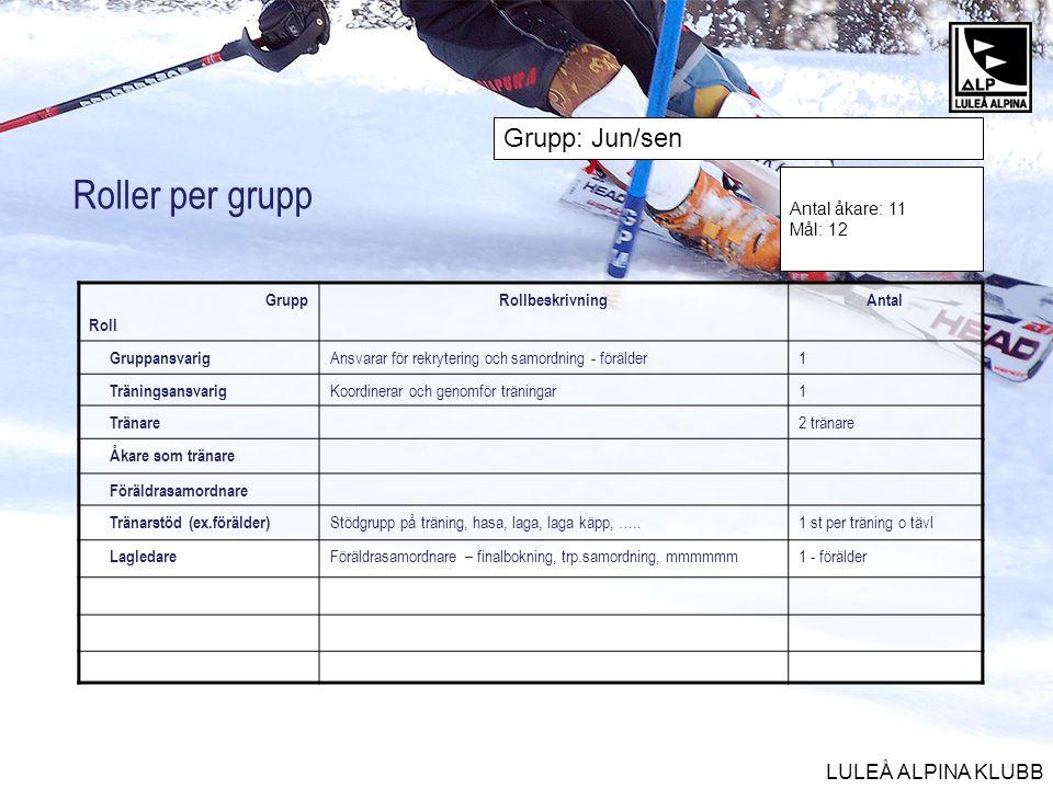 Roller per grupp Grupp: Jun/sen Antal åkare: 11 Mål: 12 Grupp Roll